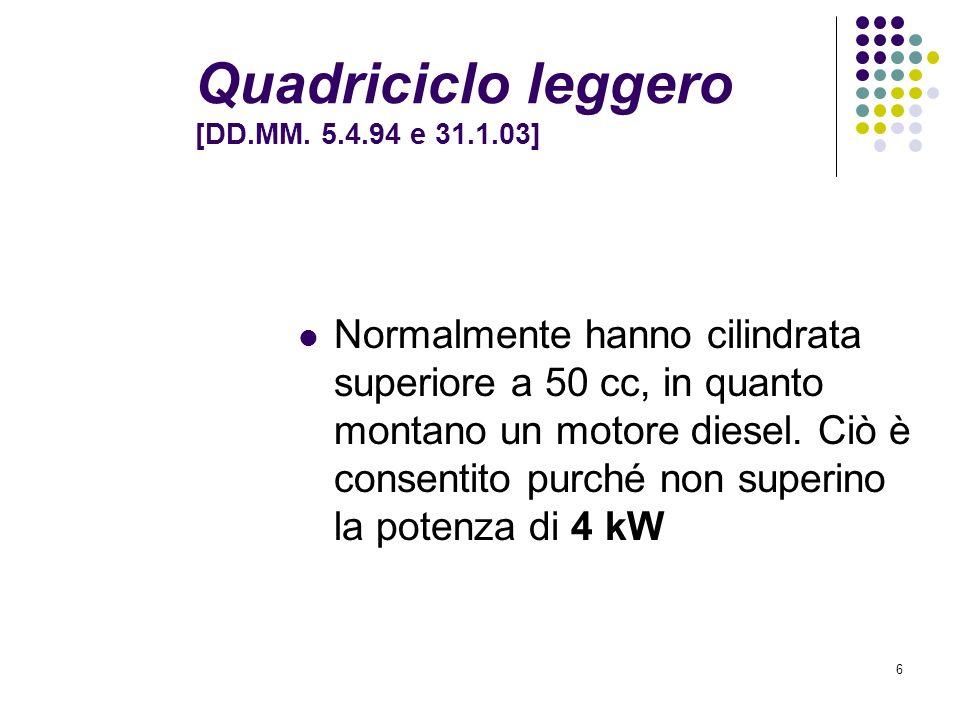 Quadriciclo leggero [DD.MM. 5.4.94 e 31.1.03]
